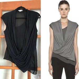 Helmut Lang Silk Wool wrap Tee Black Medium Sheer
